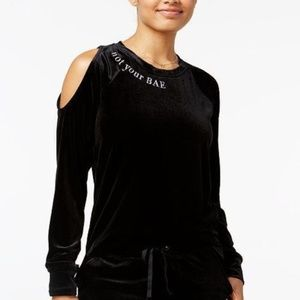 Material Girl Embroidered Long Sleeve Shoulder Top